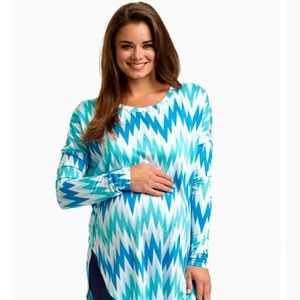 Pinkblush Chevron Maternity Top - Small